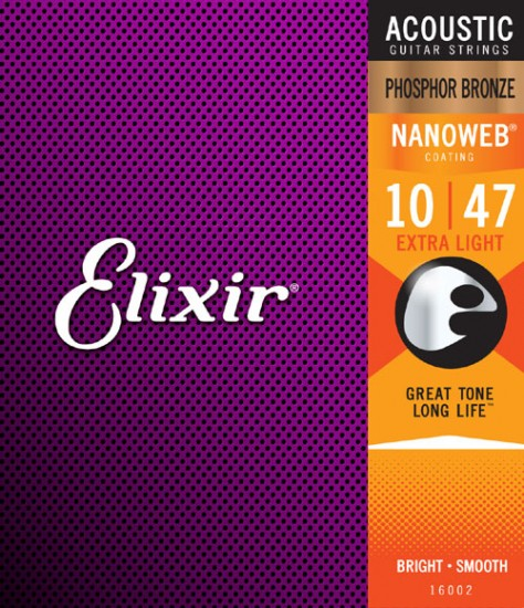 Elixir Guitar Strings Phosphor Bronze Nanoweb Extra Light