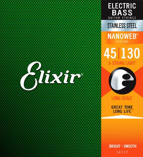 Elixir 14777 Electric Bass Stainless Steel Nanoweb 5 String 45-130