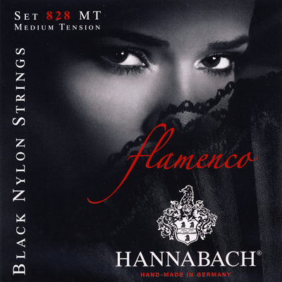 Hannabach Flamenco 828MT Black Nylon- Medium Tension, Full Set