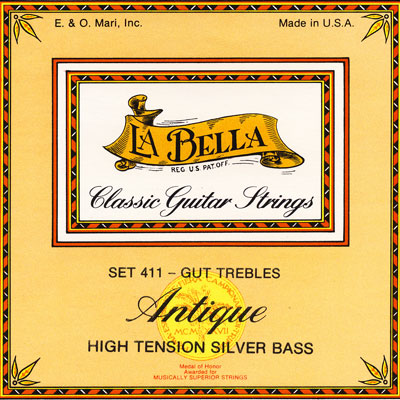 la bella 411 antique gut trebles silverwound bass strings full set. Black Bedroom Furniture Sets. Home Design Ideas