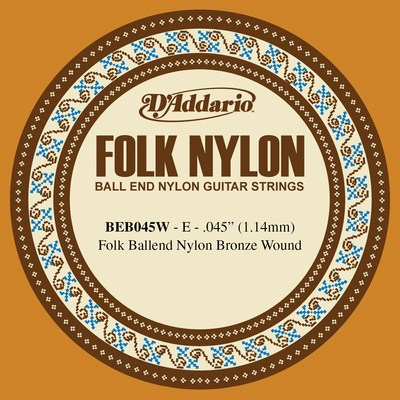 D'Addario Folk Nylon BEB045W 6th string (E), normal tension .045