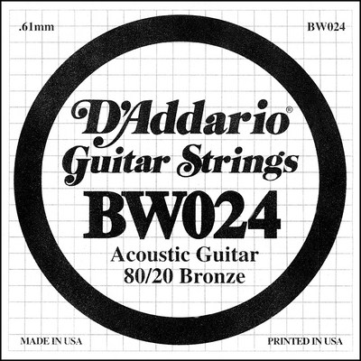 D'Addario BW024 80/20 Bronze Wound .024 inches (.61 mm), Single String