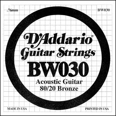 D'Addario BW030 80/20 Bronze Wound .030 inches (.76 mm), Single String