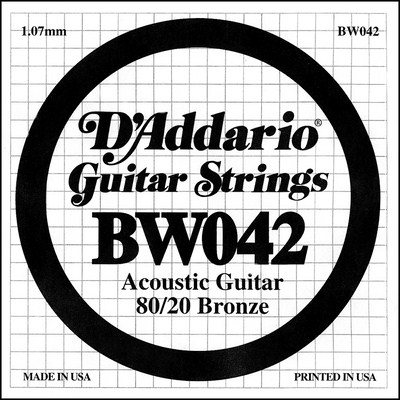 D'Addario BW042 80/20 Bronze Wound .042 in (1.07 mm), Single String