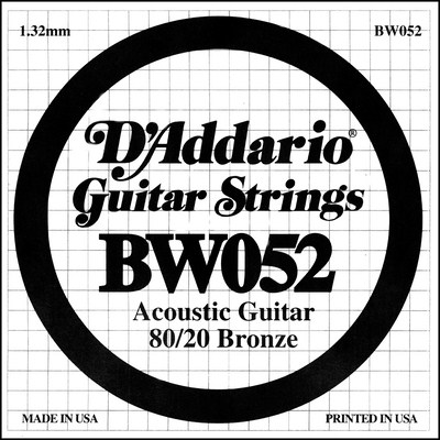 D'Addario BW052 80/20 Bronze Wound .052 in (1.32 mm), Single String