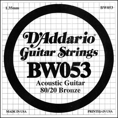 D'Addario BW053 80/20 Bronze Wound .053 in (1.35 mm), Single String