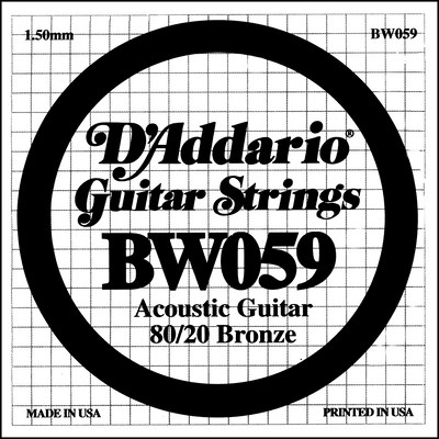D'Addario BW059 80/20 Bronze Wound .059 in (1.50 mm), Single String