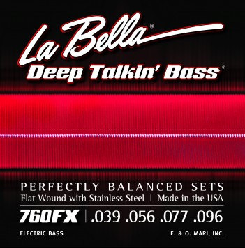 La Bella Flat Wound 760FX Extra Light Electric Bass Strings (39-96)