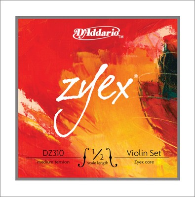 D'Addario Zyex Violin DZ310 1/2 Medium Tension, Full Set