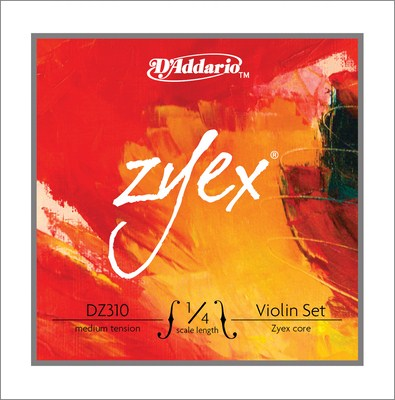 D'Addario Zyex Violin DZ310 1/4 Medium Tension, Full Set