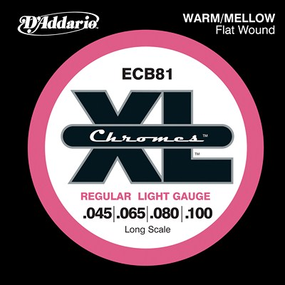 D'Addario Chromes ECB81 Flatwound, Regular Light (45 - 100), Full Set