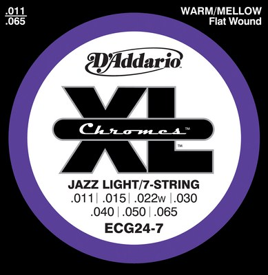 D'Addario ECG24-7 Chromes Jazz Light 7-String (11-65), Full Set