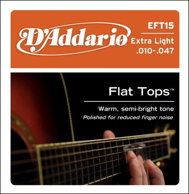 D'Addario EFT15 Extra-Light Flat Tops, Full Set