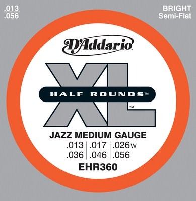 D'Addario EHR360 Half Rounds Jazz Medium 13-56, Full Set