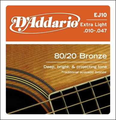D'Addario EJ10 Extra-Light 80/20 Bronze, Full Set