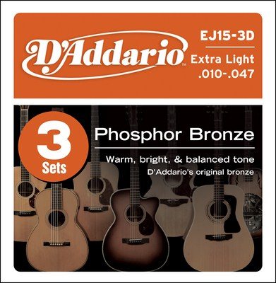 D'Addario EJ15 Extra-Light Phosphor Bronze (10-47) Full Set