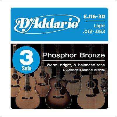 D'Addario EJ16-3D Light Phos Bronze, 3 Full Sets