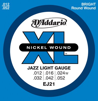 D'Addario EJ21 Jazz Light Electric Guitar Strings, Full Set