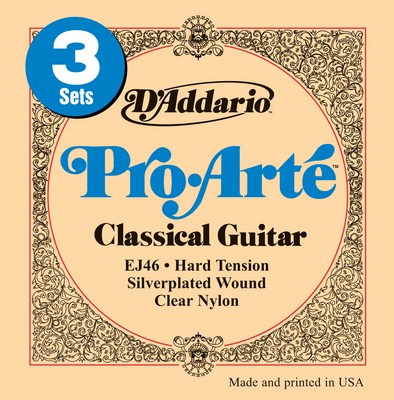 D'Addario EJ46-3D Pro Arte Hard Tension, Three Full Sets