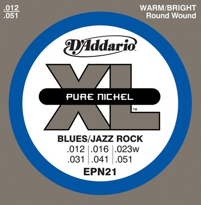 D'Addario EPN21 Pure Nickel Blues/Jazz Rock Wound 3rd, Full Set