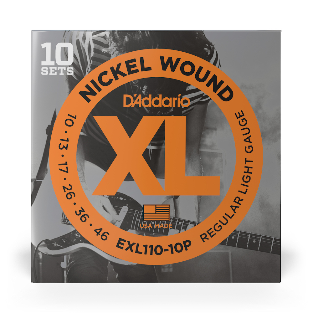 D'Addario EXL110-10P XL Nickel Electric Guitar (10 - 46) 10 Full Sets