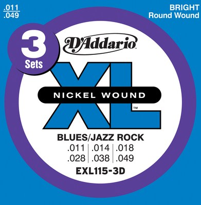 D'Addario EXL115-3D XL Nickel Electric (11 - 49), 3 Full Sets