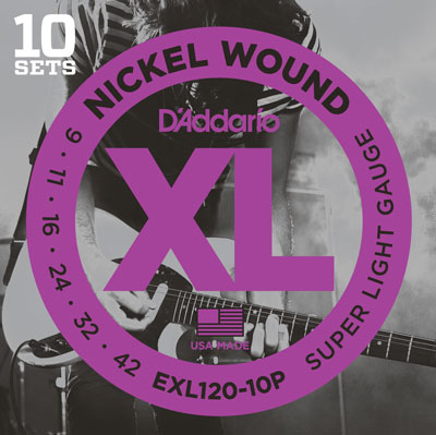 D'Addario EXL120-10P XL , (9 - 42), 10 Full Sets