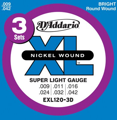 D'Addario EXL120-3D XL Nickel Electric Guitar, (9 - 42), 3 Full Sets