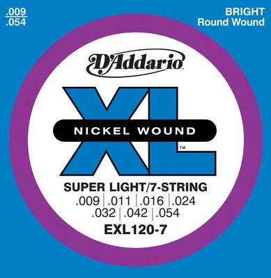 D'Addario EXL120-7 XL 7 String Nickel Wound Electric Guitar (9-54)