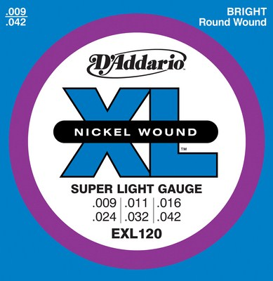 D'Addario EXL120 XL Nickel Electric Guitar Strings, (9 - 42), Full Set