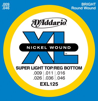 D'Addario EXL125 XL Super Light Top/Reg Bottom (9-46), Full Set