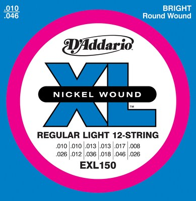 D'Addario EXL150 Regular Light 12-String Electric Guitar Strings 10s