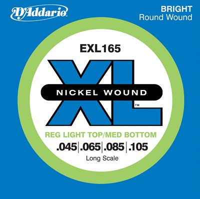 D'Addario Nickel Wound EXL165 Reg Light Top/Med Bottom (45-105)