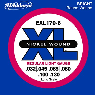 D'Addario Nickel Wound EXL170-6 Regular Light (32-130), Full Set