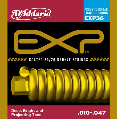 D'Addario EXP36 12 String Light EXP Coated 80/20 Bronze, Full Set