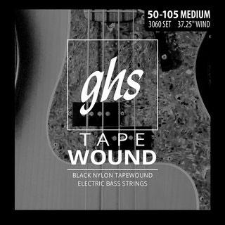 ghs 3060 black nylon tapewound electric bass strings 50 105 medium. Black Bedroom Furniture Sets. Home Design Ideas