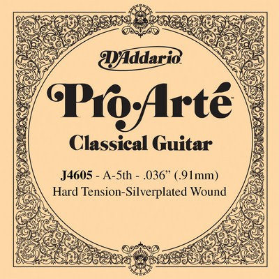 D'Addario Pro Arte J4605 - 5th string (A), hard tension .036