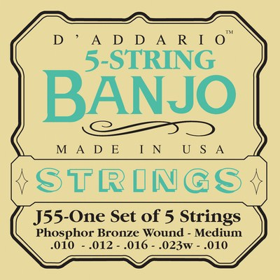 D'Addario J55 - Phosphor Bronze Wound 5 Strings, Full Set