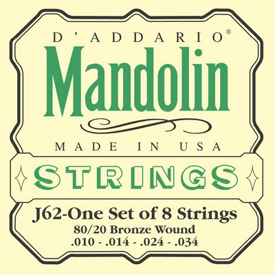 D'Addario J62 Mandolin Bronze Wound (8 strings), Full Set