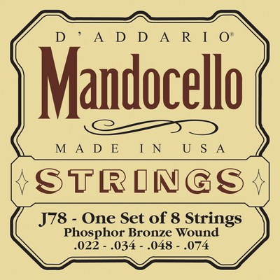 D'Addario Mandocello J78 Phosphor Bronze Wound, Full Set