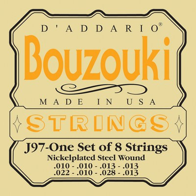 D'Addario J97 Greek Bouzouki Nickelplated Steel Wound, Full Set