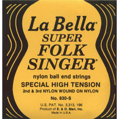 La Bella 830S Folksinger Nylon Ball End High Tension, Full Set