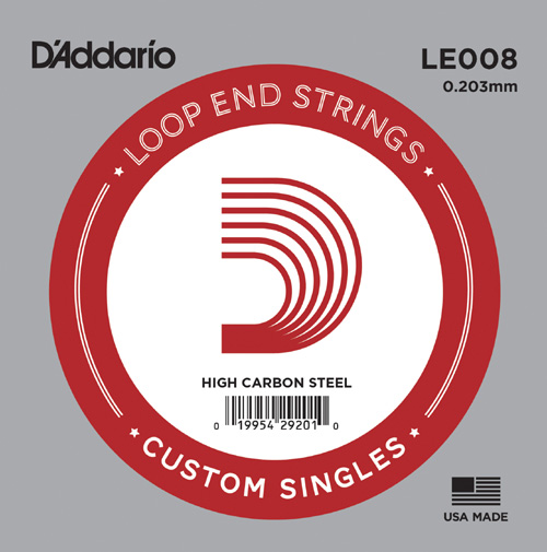 D'Addario LE008 Plain Steel Loop End .008 inches (.20 mm), Single