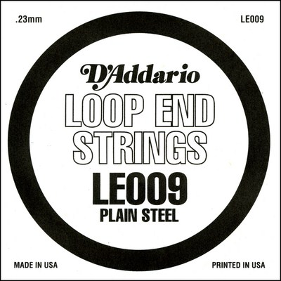 D'Addario LE009 Plain Steel Loop End .009 inches (.23 mm), Single