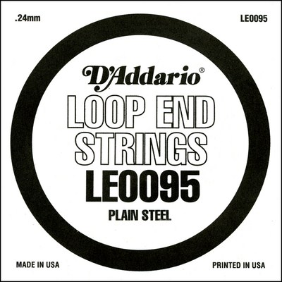 D'Addario LE0095 Plain Steel Loop End .0095 inches (.24 mm), Single