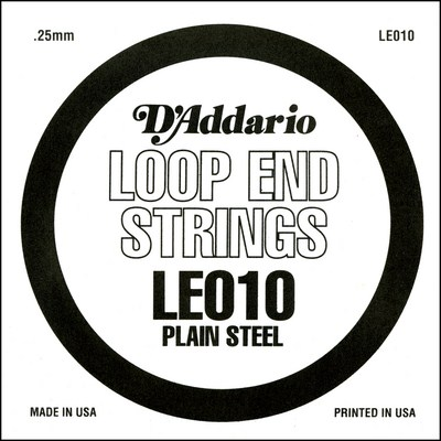 D'Addario LE010 Plain Steel Loop End .010 inches (.25 mm), Single
