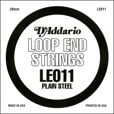 D'Addario LE011 Plain Steel Loop End .011 in (.28 mm), Single