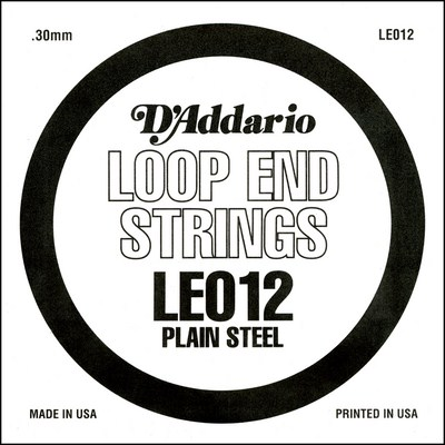 D'Addario LE012 Plain Steel Loop End .012 inches (.30 mm), Single