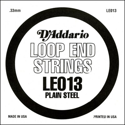 D'Addario LE013 Plain Steel Loop End .013 inches (.33 mm), Single