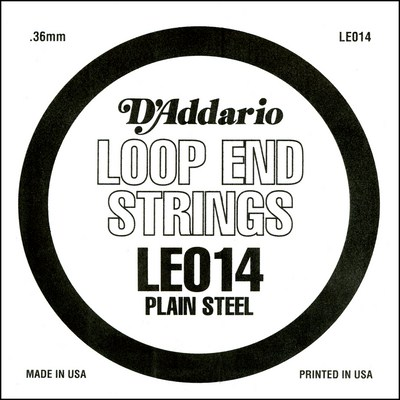 D'Addario LE014 Plain Steel Loop End .014 inches (.36 mm), Single